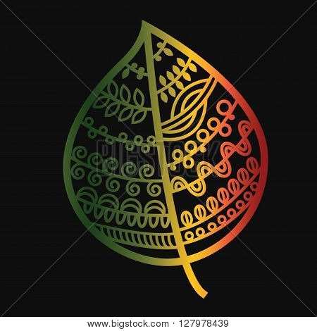 Autumn colored leaf on a black background.Doodle style.Vector illustration