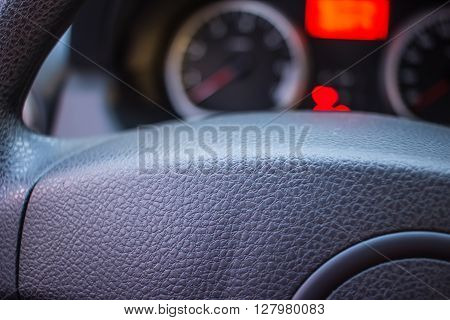 simple news automotive instrument panel and steering wheel