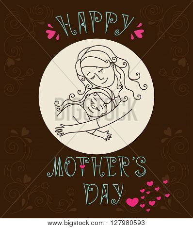 Happy mother's day card.Mother and daughter hugging.Vector illustration