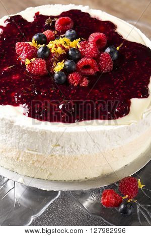 Cheesecake With Berries And Ref Fruits