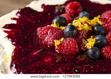 Cheesecake with Berries and ref fruits. Gourmet food.