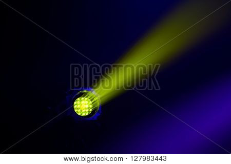 Stage light source closeup, colorful source light