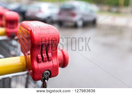 Locker of a shopping cart selective focus