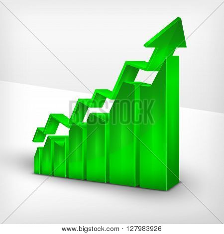 Green Chart With Arrow On White