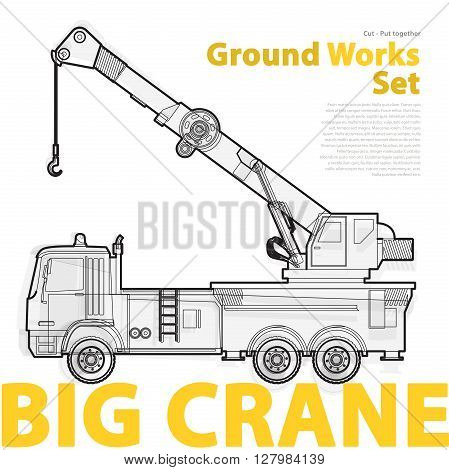 Big crane, yellow and orange typography set of ground works machines vehicles. Construction equipment for building. Truck, Digger, Excavator, Forklift, Roller master vector illustration.