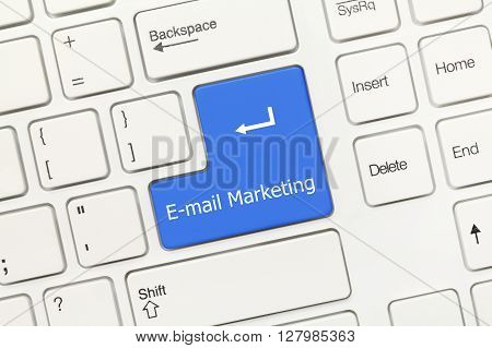 White Conceptual Keyboard - E-mail Marketing (blue Key)