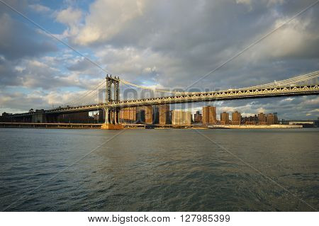 Manhattan Bridge in NYC at sunny day.