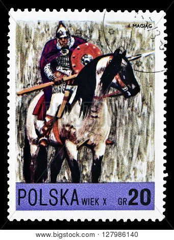 POLAND - CIRCA 1972 : Cancelled postage stamp printed by Poland, that shows painting by Maciag.