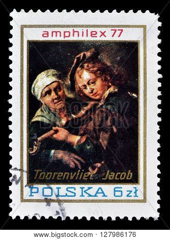POLAND - CIRCA 1977 : Cancelled postage stamp printed by Poland, that shows painting by Toorenvliet.