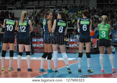 ANKARA/TURKEY-April 30, 2016: Fenerbahce Grundig Volleyball Team's players at the Baskent Volleyball Hall during the Volleyball Women 1st Laegue of Turkey Final Four matches. April 30, 2016-Ankara/Turkey