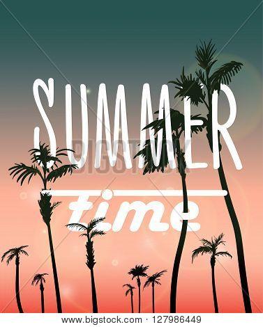 Paradise Island-Palm Tree Sunset. Vector summer poster