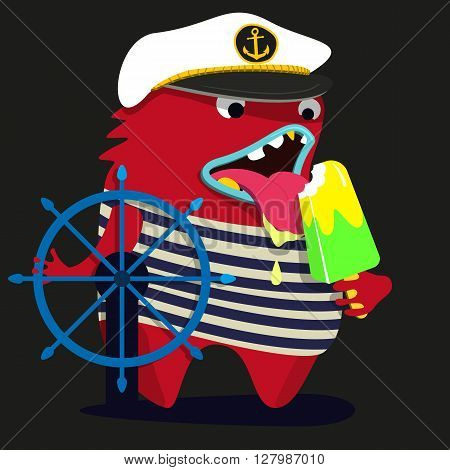 cute monster  graphic captain. Vector eps 10