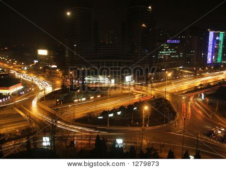 Beijing Traffic Circle At Night
