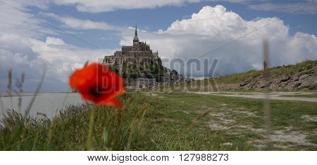 The island commune of Mont Saint-Michel, Normandy, France.