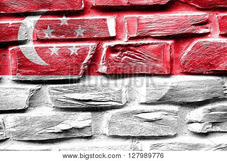 Brick wall Singapore flag with some cracks and vintage look