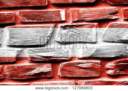 Brick wall Austrian flag with some cracks and vintage look