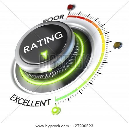 3D illustration of rating button pointing to the highest level white background and green light. Concept of excellent customer experience.