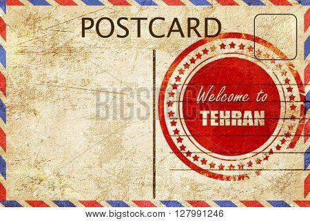 Vintage postcard Welcome to tehran