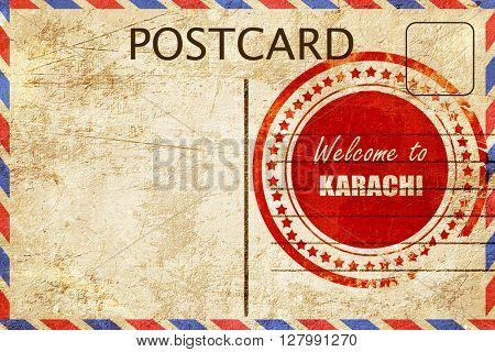 Vintage postcard Welcome to karachi