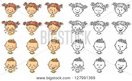Set of boy and girl faces with different emotions both colorful and black and white