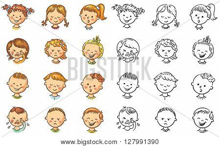 Set of different kids with various emotions both colorful and black and white