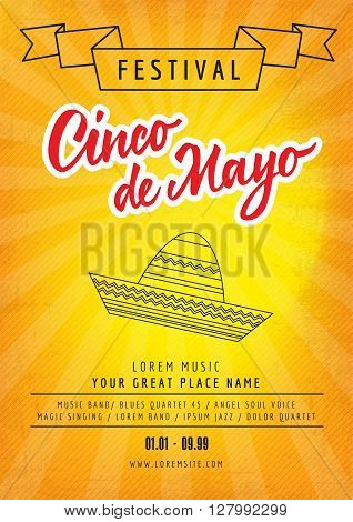 Festival Cinco de Mayo poster template with sample text isolated on sunburst background
