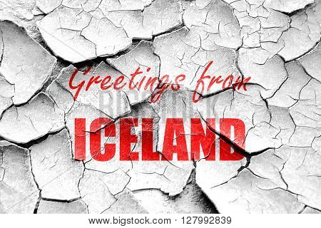 Grunge cracked Greetings from iceland