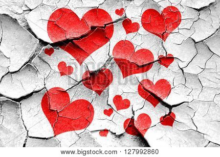 Grunge cracked Hearts love background