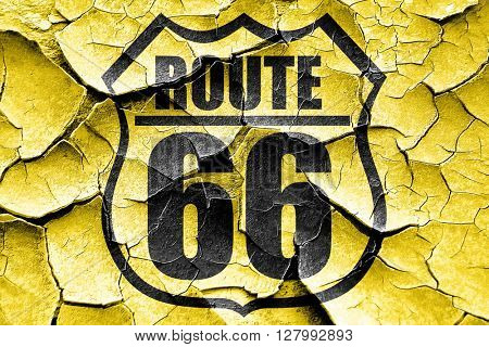 Grunge cracked Route 66 sign