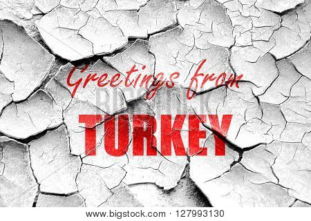 Grunge cracked Greetings from turkey