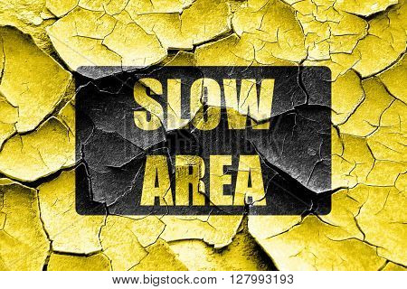 Grunge cracked Yellow slow sign