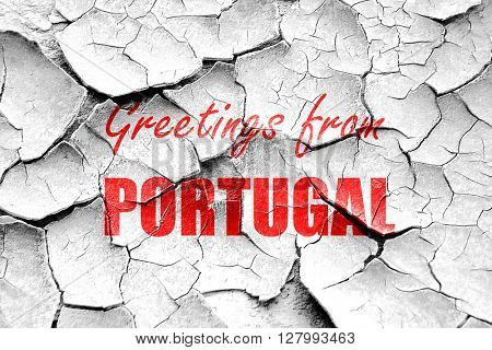 Grunge cracked Greetings from portugal
