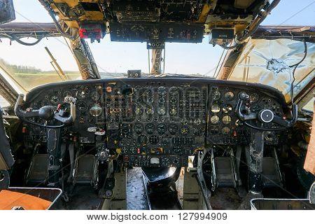 Retro control panel in a transport plane cockpit