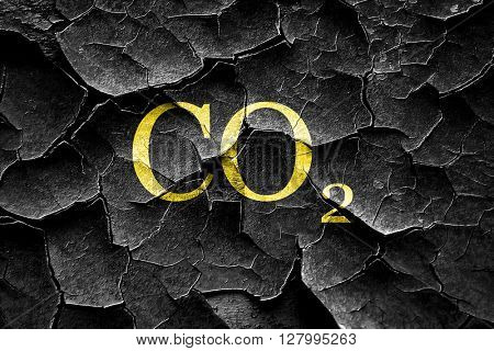 Grunge cracked CO2 warning sign