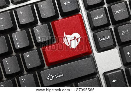 Conceptual Keyboard - Red Key With Cardiology Symbol