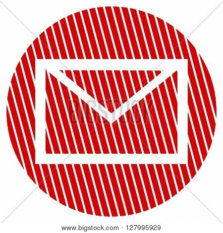 Striped round Button with white symbol is showing Envelope