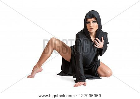 Young Woman In Black Hood