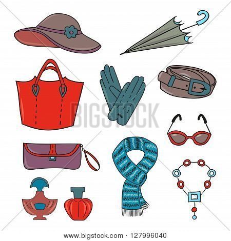 Woman accessories set. Collection of colorful female accessories - bags, glasses, scarf, gloves, hat, umbrella, perfume. Vector illustration.