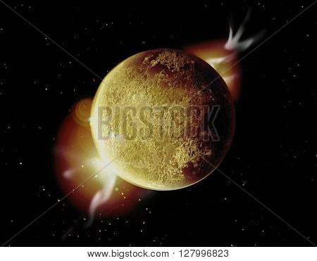 yellow planet illustration in universe with aura and stars.