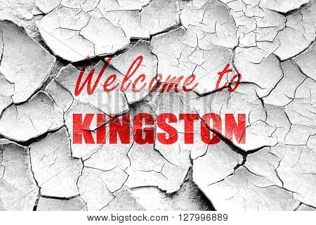 Grunge cracked Welcome to kingston