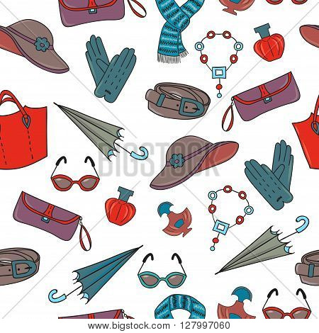 Womans accessories seamless pattern. Shopping background. Female accessories isolated on white. Colorful hand drawn vector illustration.