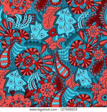 Abstract doodle floral seamless patter in blue and red. Hand drawn flowers and leaves, vector background.