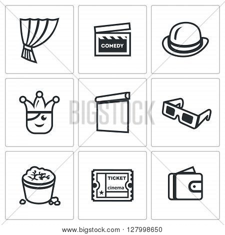 Cinema, Humor, Props, Actor, Showing, Technology, Food, Skip, Payment icons