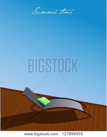Vector Summer Background with Chaise-longue near pool