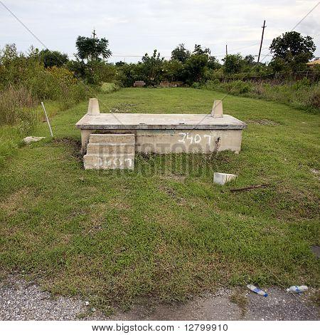 Haus-Stiftung nach dem Hurrikan Katrina in New Orleans (Louisiana)
