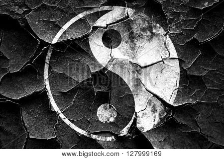 Grunge cracked Ying yang symbol