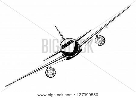 black outline jet passenger aircraft take off