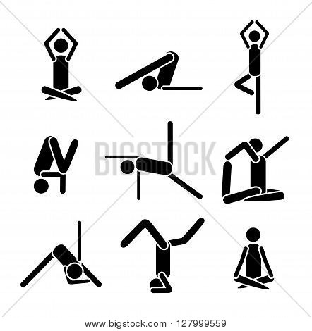 Icons yoga asana pose isolated on white background. Vector illustration. Eps 8