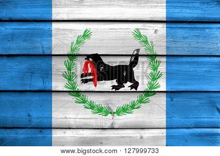 Flag Of Irkutsk Oblast, Painted On Old Wood Plank Background