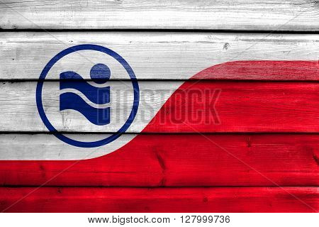 Flag Of Irving, Texas, Painted On Old Wood Plank Background
